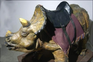 Dinosaur with saddle at a Creation Museum