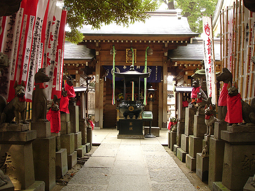 Inari foxes at Myogonji Buddhist Temple