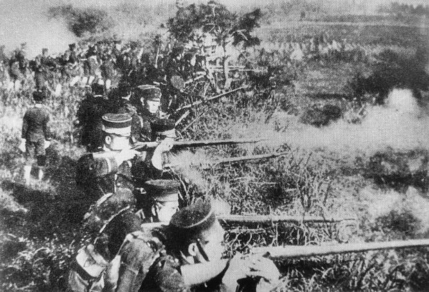 A photographic image of Japanese soldiers from the 1894 Sino-Japanese war