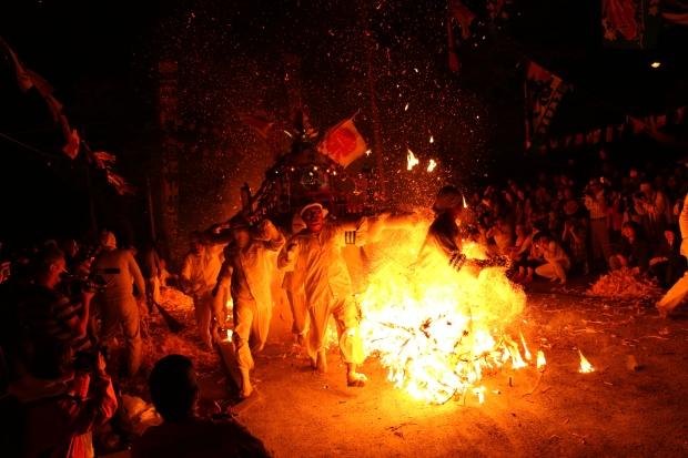 Mikoshi firewalkers in Shakotan